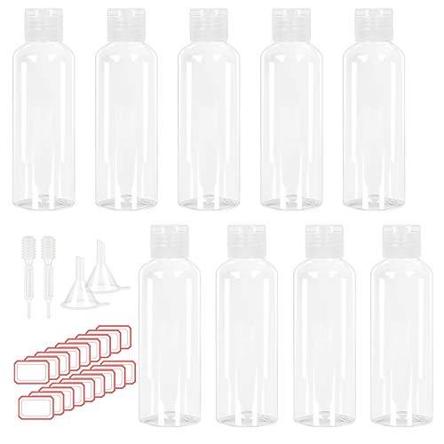 CHIFOOM 14tlg 100ml Leer Flug Flasche Set Kosmetikflascher zum Befüllen Reise Duschgel Behälter 9 Plastikflaschen mit 2 Trichter 2 Messpipette 1 Etikette Leerflaschen für Kosmetik Creme Shampoo Campin