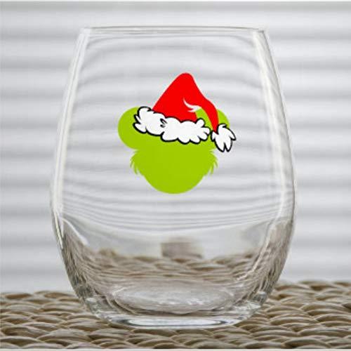 Christmas Who Stole Christmas Mickey Ears Christmas - Copa de vino sin tallo, diseño de orejas de Mickey