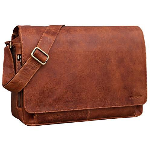 STILORD 'Tom' Vintage Lederen Schoudertas voor Mannen en Vrouwen 15 inch Laptoptas DIN A4 Messenger Bag Tas Echt Leer, Kleur:arona - bruin
