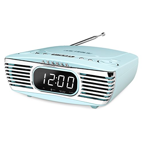 Victrola Bedside Digital LED Alarm Clock Stereo with CD Player and FM Radio, Turquoise