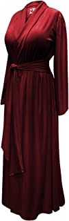 Solid Burgundy Plus Size Robe in Poly/Cotton and Ultra Soft Brushed Jersey with Attached Belt