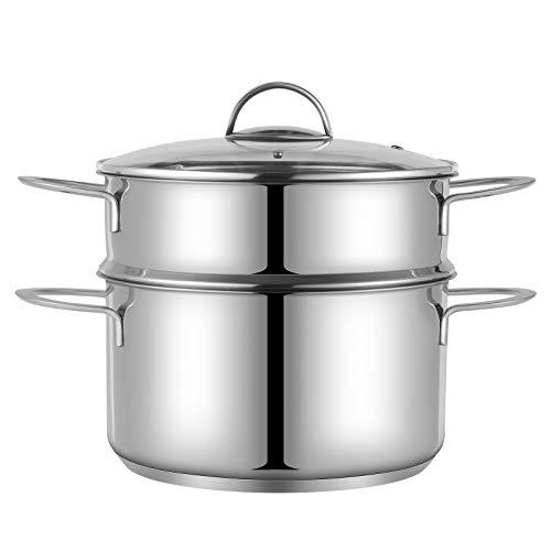 Eono by Amazon - Olla de vapor de acero inoxidable para cocinar, olla de 24 cm y 5 l con tapa de vidrio e inserto de vaporera, juegos de ollas de vapor para vegetales y alimentos, 2 niveles