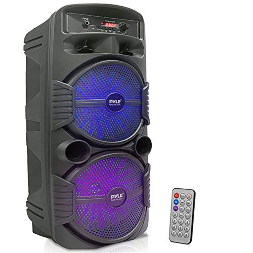 """Portable Bluetooth PA Speaker System - 600W Rechargeable Outdoor Bluetooth Speaker Portable PA System w/ Dual 8"""" Subwoofer 1"""" Tweeter, Microphone In, Party Lights, USB, Radio, Remote - Pyle PPHP2835B"""