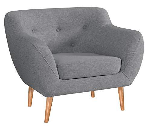 MARTHOME Gepolsterter Sessel, Stuhl aus Samtstoff, bequeme Sessel für Wohnzimmer und Schlafzimmer (hellgrau)
