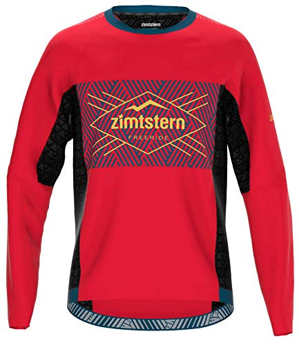 Zimtstern Herren TechZonez Shirt LS MTB, Cyber Red/French Navy/Mimosa, S