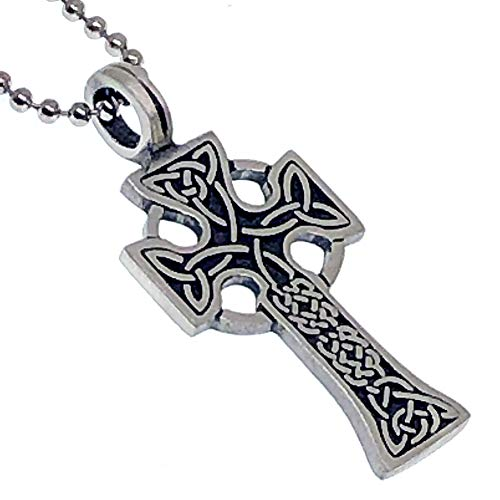 Celtic Solar Cross Knot Pewter Unisex Women Men Pendant Necklace Charm Amulet w Silver Ball Chain
