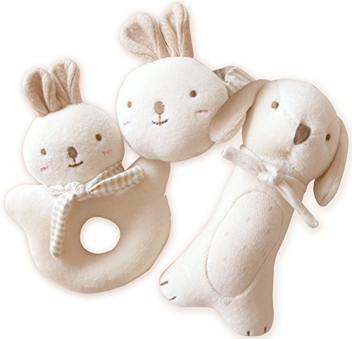 JOHN N TREE Organic Baby Rattle ((Puppy & Baby Rabbit Rattle Set - Set of 3 ))