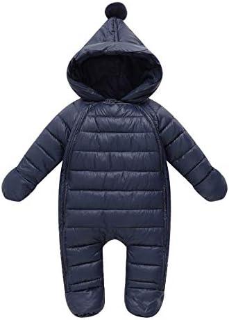 JanLEESi Unisex Baby Romper Hooded Snowsuit Infant Winter Bodysuit Warm Footie Playsuit Navy product image