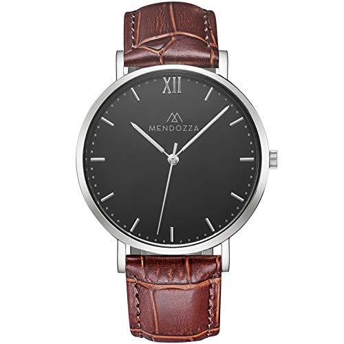MENDOZZA Herren-Uhr Midnight Black Flache Designer Armbanduhr Männer Schweizer Uhrwerk Saphirglas Kroko-Leder-Armband Schwarz 40 mm Silber/Braun