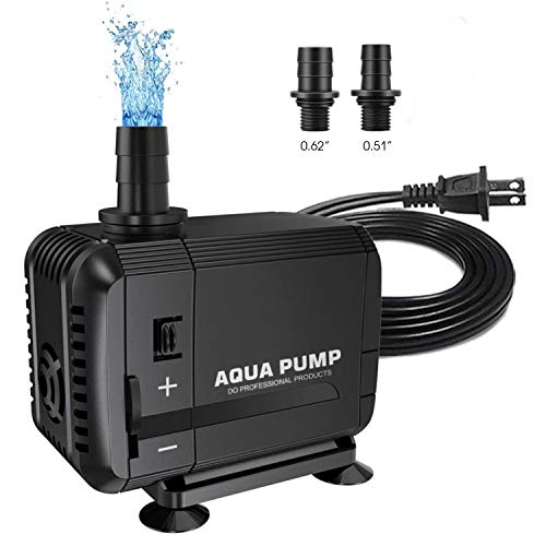 UPMCT 60-800 GPH Adjustable Submersible Water Pump, Ultra Quiet High Lift Detachable Cleanable Water Pump for Aquarium, Pond, Hydroponics (200-400GPH)