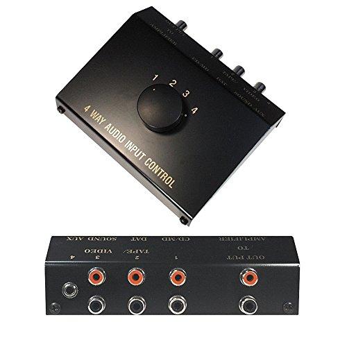 Audio AUX RCA Umschaltbox Schalter Controller Switch Splitter, 1 3,5mm Klinke IN, 3 L-R Cinch IN 1 Cinch Out, Schwarz