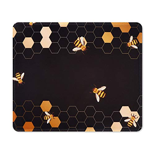 iCasso Mouse Pad with Stitched Edge, Non-Slip Rubber Base and Comfortable Lycra Cloth Mouse Mat, Waterproof Mousepad for Computer, Laptop, Office, Home - 10.4 x 8.4 in - Honeycomb