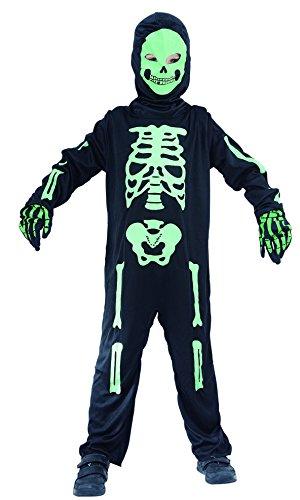 Magicoo Skelett Kostüm Kinder Jungen schwarz-grün - Ausgefallenes Halloween Kostüm Jungen, Schwarz-grün, M, 120 - 130 cm