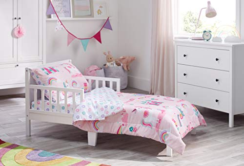 Bloomsbury Mill - 4-teiliges Kinder-Bettwäsche-Set – Magisches Einhorn, Feen-Prinzessin und verzaubertes Schloss – Rosa – Kinder-Bettwäsche-Set
