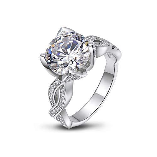 HTRGF Anillo de compromiso de plata de ley de 3,5 quilates con diamantes blancos redondos y exquisitos anillos de boda de aniversario, (oro blanco, número 6)
