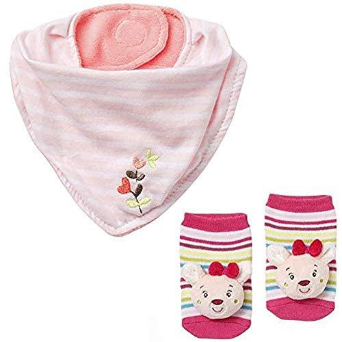 BabyFehn Baby-Halstuch & Rasselsöckchen // 2er Set // Garden Dreams Collection // Lebhafte Farben und Materialien //