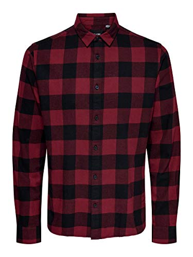 ONLY & SONS Herren Onsgudmund Ls Checked Shirt Noos Hemd, Cabernet, XXL EU