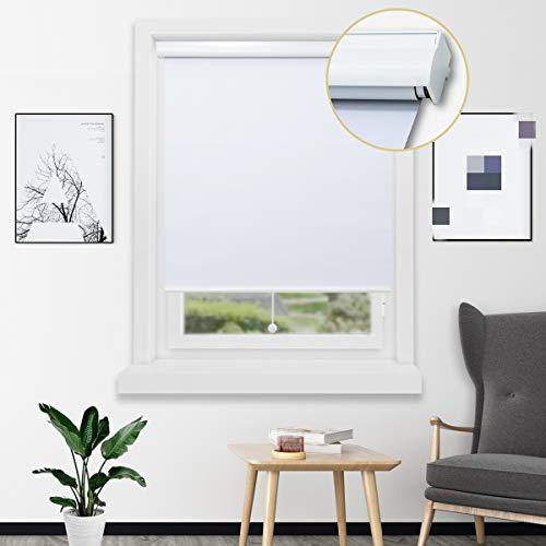 Loochoo Springrollo mit Aluminium-Kassette besseres Verdunklungsrollo für Fenster Thermorollo zum Bohren Weiß 140x180cm(BxH)