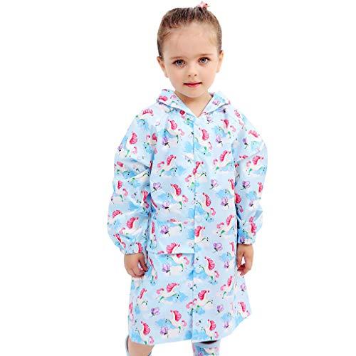 Minizone Kinder wasserdichte Regenjacke Mädchen Jungen mit Kapuze Regenmantel Jacke Kinder Leichte Outdoorjacke Niedlicher Regenponcho Blau Pferd XXL