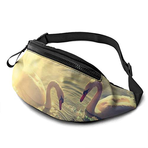 Gkf Waist Pack Bag for Men&Women, Lake Water Swans Couple Utility Hip Pack Bag with Adjustable Strap for Workout Traveling Casual Running