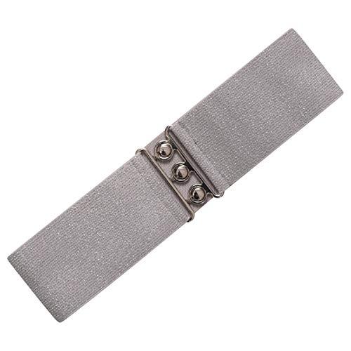 Ro Rox Cinturón Elástico Ancho de estilo Retro Vintage 1950 colores - Tallas 40-44 - Plata (Medium)