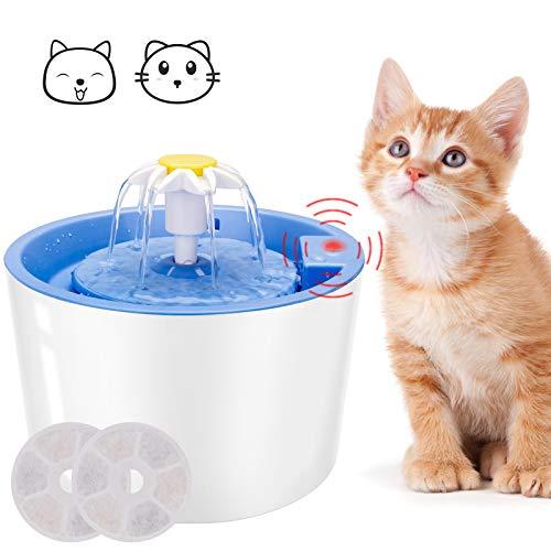 Katzen Trinkbrunnen, Guiseapue Trinkbrunnen für Hunde Haustier Katzenbrunne mit LED Sensor-Funktion,Automatisch Katze Wasserspender Trinkbrunnen für Katze 1.6L(Blau)