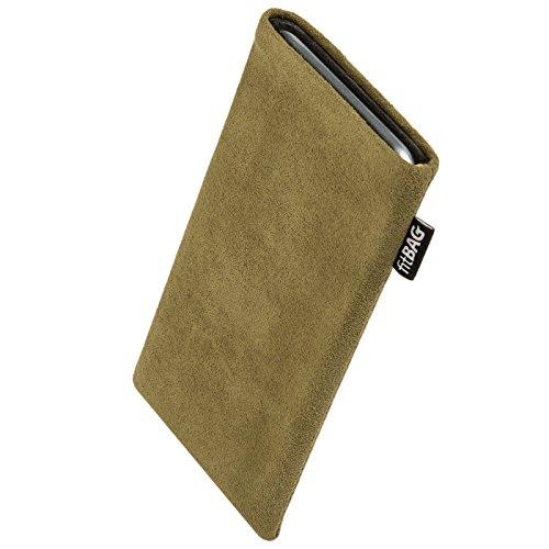fitBAG Classic Khaki Handytasche Tasche aus original Alcantara mit Microfaserinnenfutter für Sony Ericsson J120 J120i | Hülle mit Reinigungsfunktion | Made in Germany