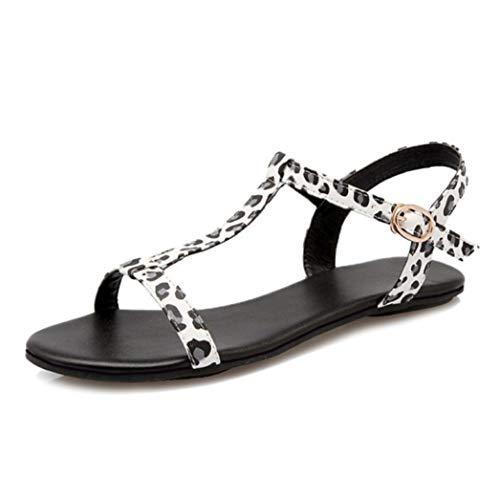 Mujeres Sandalias de Leopardo Simple Gladiador T Pisos Atados Informal Punta Abierta cómodos Zapatos de Playa al Aire Libre de Verano Fondo Delgado Retro Roma Flip Flop