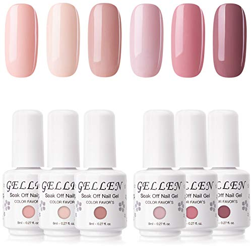 Gellen Gel Polish Set 6 Colors Pinks Glitters