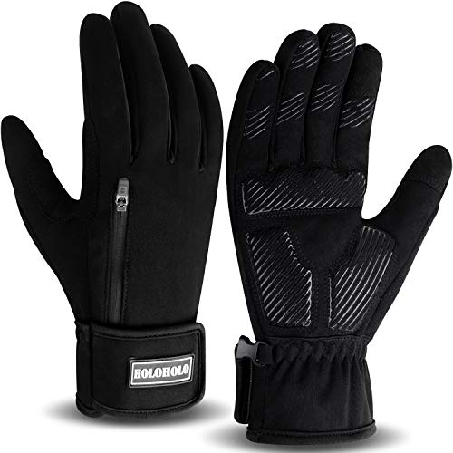 HoloHolo Fahrradhandschuhe Radsporthandschuhe rutschfeste und Stoßdämpfende Mountainbike Handschuhe mit Signalfarbe geeiget Unisex Herren Damen (Black, M)