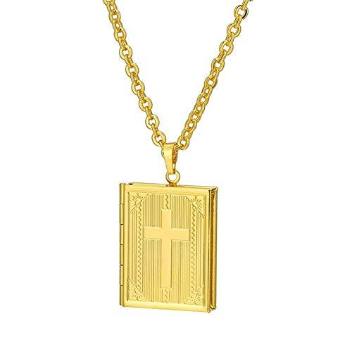chenyou Joyería Santa Cruz Biblia Collar del Locket Color Plata/Oro De Memoria Locket De La Foto De Los Collares For Las Mujeres De Los Hombres De Regalos/Mujer niña para