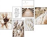 artpin® Moderno juego de pósteres – Cuadros para salón o dormitorio – Pampas Wild Gras Mar Beige pared sin marco (4 x A3   2 x A4) W16