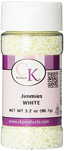 CK Products Cake Decorating Bottle Jimmies, 3.2 oz, White