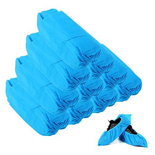 Yangfei 100 Pezzi Copriscarpe Antiscivolo Copriscarpe Tessuto non Tessuto Adulti Copriscarpe Resistenti da Interno/Esterno (15cm*40cm, Blu)