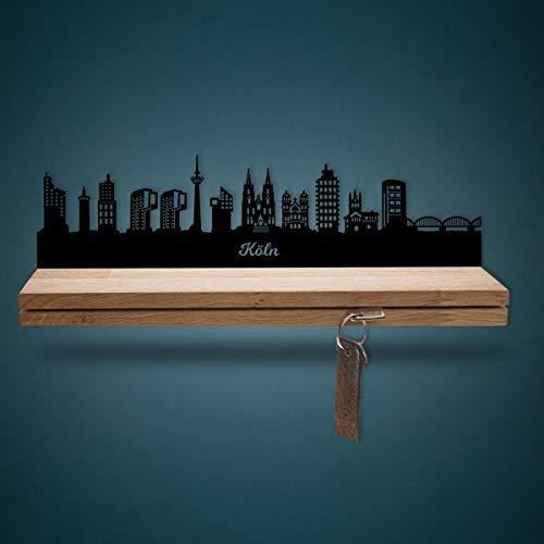 Schlüsselleiste Holz mit Skyline Köln - Geschenk für Stadtverliebte - Stabiles & Massives Schlüsselbrett aus Eichenholz Moderner Schlüsselhalter für die Wand - 100{1d85b1fb090b9cc5a47894691807f2e07f2c660ecf401d1a44fe8981b7d1cffb} Made in Germany - Größe 35 cm