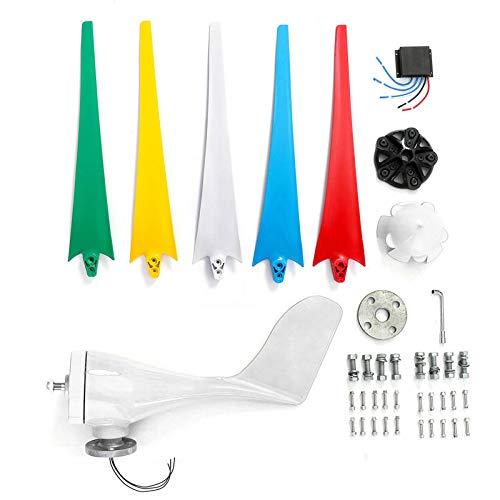 FJL Aerogenerador de Eje Vertical Generador de Viento de 1400W 5 Colores Cuchillas con Controlador Aerogeneradores (Color : 24V)