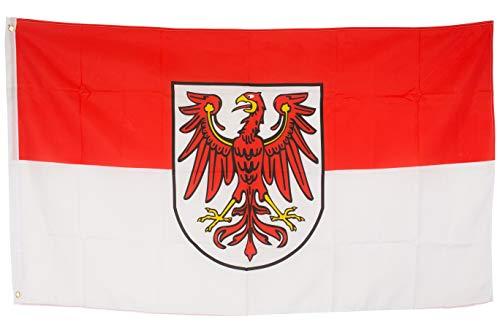 SCAMODA Bundes- und Länderflagge aus wetterfestem Material mit Metallösen (Brandenburg) 150x90cm