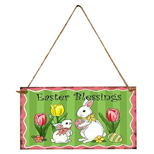 Easter Decoration, Easter Decor Hanger Happy Easter Rabbit Wooden Hanging Wall Door Decoration Sign,Home Ornaments Household Decoration Toys Gift Easter Party Favor for Kids Adults