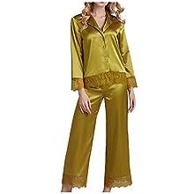 Pijamas de Moda Pijamas Suaves Pijamas De Manga Larga para Mujer, Albornoces, Pijamas De Seda De Simulación, Ropa De Dor