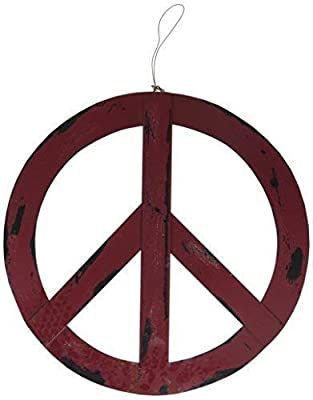 """Metal Treasured Red Peace Sign Rustic Groovy Peace Sign Wall Hanging Ornament Home Door Decor Decorative Signs (16"""")"""