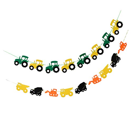 SM SunniMix 2pcs Cool Tractor Car Design Felt Bunting Banner Garland Sign Baby Shower Boy Birthday Party Indoor Outdoor Decor