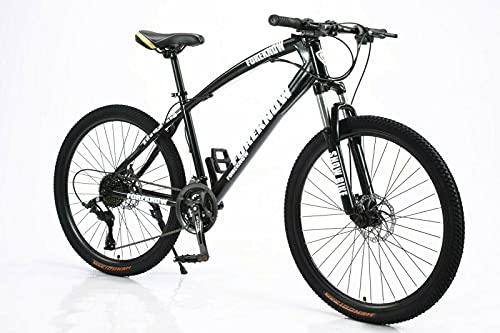 Bicicletta - Bicicleta de montaña (26 pulgadas, freno de disco, suspensión de horquilla de suspensión), color negro