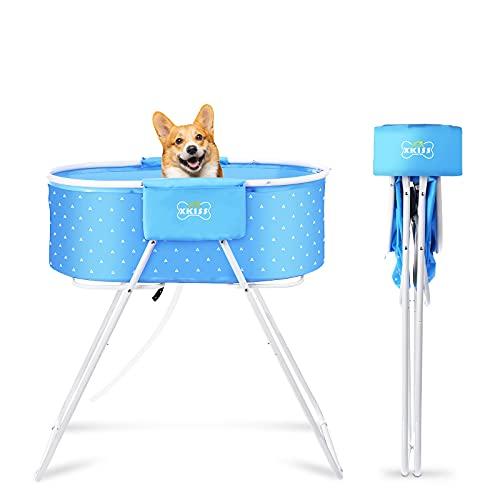 XKISS Piscina para perros grandes y pequeños, bañera universal para perros, plegable, fácil de transportar, bañera para mascotas levantada, baño para mascotas (rosa)