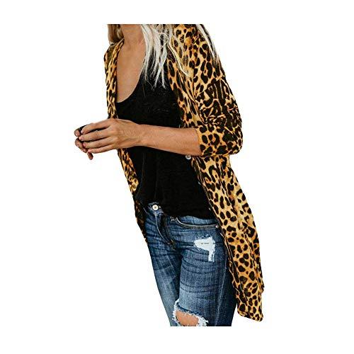iHENGH Damen Herbst Winter Bequem Lässig Mode Frauen Langarm Leopard Print Mode Mantel Blusen T Shirt Tank Tops(S,Gelb)