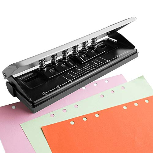 Adjustable Metal 6-Hole Punch with Positioning Mark, Daily Paper Puncher for A5 Size Six Ring Binder