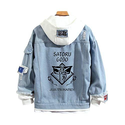 Jujutsu Kaisen Denim Jacket Hoodie Anime Gojo Satoru Yuji Itadori Fake-Two Sweatshirt Coat for Men Women