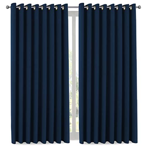 H.VERSAILTEX Ultra Blackout Wider Curtains, Extra Long and Wide Thermal Insulated Large Window Panels (100' W x 108' L) / Premium Room Divider (9' Tall by 8.5' Wide - Navy Blue)