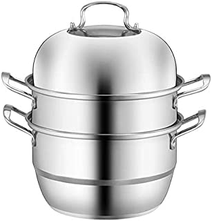 VONOTO Stainless Steel 3-Tier/Layer Steamer cooking pot, Rice cooker, Double Boilder, stack, steam soup pot and steamer (3 Tier 11.2