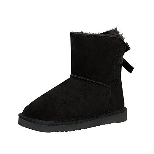 SKUTARI Kids Single Bow Boots, Wildlederstiefel mit kuscheligem Kunstfell für Kinder, gemütliche...
