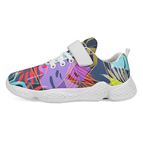 YxueSond - Zapatillas deportivas de malla con diseño de hojas tropicales de colores arco iris, para correr, para acampada, correr, entrenamiento/calzado para niños, Infantil, blanco, 28